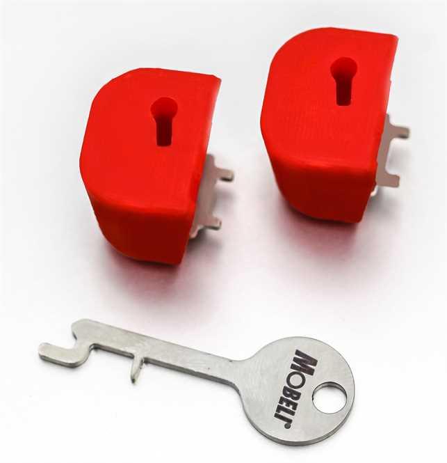 2 x Kipphebelsicherungen mit 1 x Schlüssel, z.B. für Haltegriffe