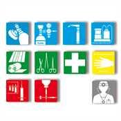 Rettungschilder, 11 Piktogramme, Maße: 33 x 33 mm